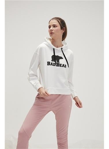 Bad Bear 20.04.12.007C04 Offwhıte Kadın Crop Hoodie Uzun Kol Kapüşonlu Sweatshirt Beyaz